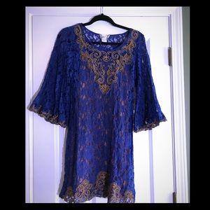 Blue and salmon lace dress PERFECT FALL DRESS